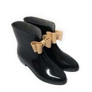 DIZZY Womens Black Rain Boots with Bows Size 7